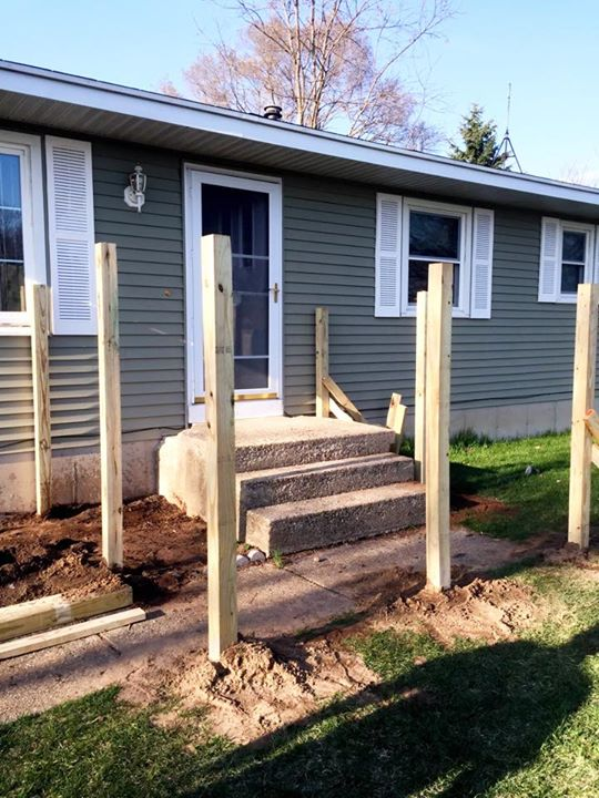McCarthy Deck:Set The Posts Tonight To Build A Small Deck To Cover Up Those  Nasty Old Concrete... | Moulenbelt Construction LLC